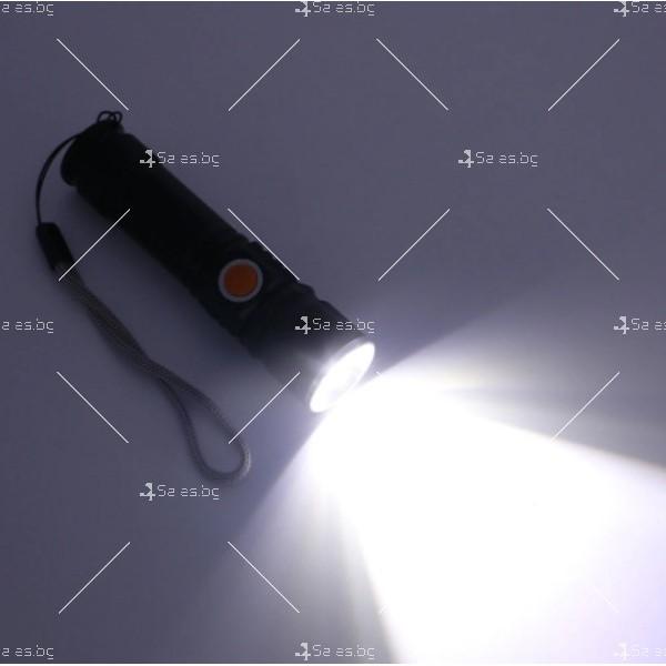 Джобно LED фенерче с USB и 3 режима на работа 15