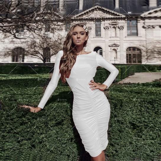Официална рокля с дълъг ръкав, гол гръб и дължина до коляното FZ45