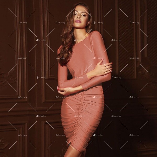 Официална рокля с дълъг ръкав, гол гръб и дължина до коляното FZ45 5