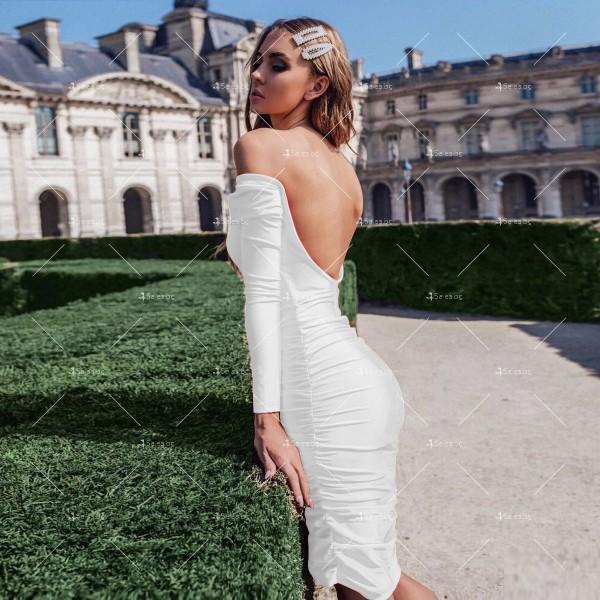 Официална рокля с дълъг ръкав, гол гръб и дължина до коляното FZ45 10