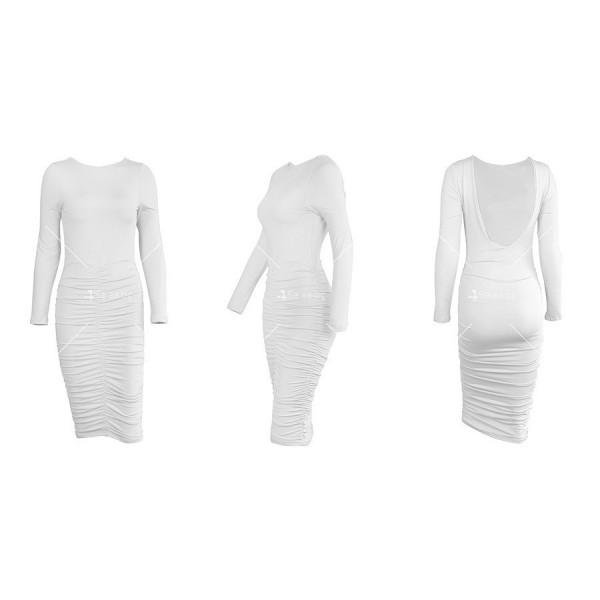 Официална рокля с дълъг ръкав, гол гръб и дължина до коляното FZ45 12