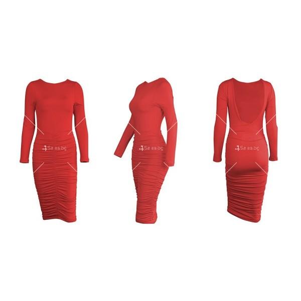 Официална рокля с дълъг ръкав, гол гръб и дължина до коляното FZ45 13