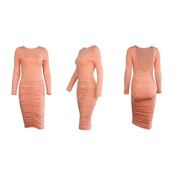Официална рокля с дълъг ръкав, гол гръб и дължина до коляното FZ45 14