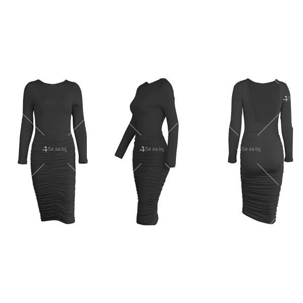 Официална рокля с дълъг ръкав, гол гръб и дължина до коляното FZ45 15