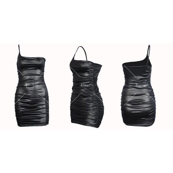 Модна кожена къса рокля с една тънка презрамка и набран декоративен шев FZ49 10