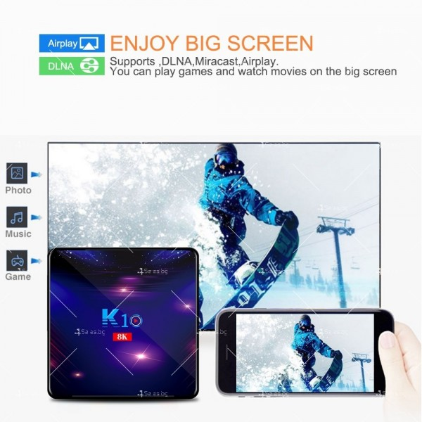 Смарт ТВ бокс K10 TV BOX Android 8K, 32GB, WiFi и Bluetooth 4