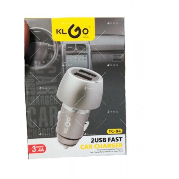 Двойно USB зарядно за автомобил с функция за бързо зареждане KLGO TC-04 CA27 4