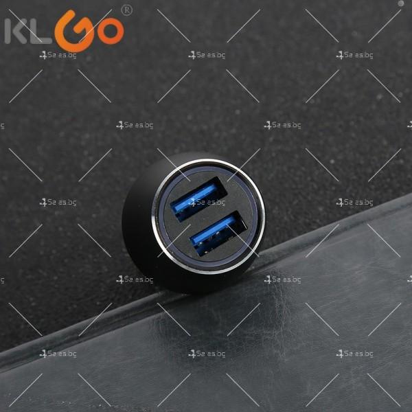Двойно USB зарядно за автомобил с функция за бързо зареждане KLGO TC-04 CA27 6
