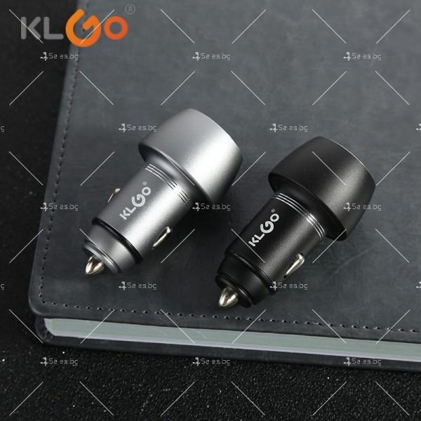 Двойно USB зарядно за автомобил с функция за бързо зареждане KLGO TC-04 CA27 7