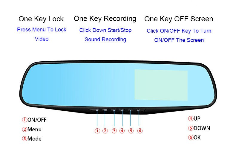 Видеорегистратор тип огледало за задно виждане DVR JPG 1080 P -8Mpx AC25 28