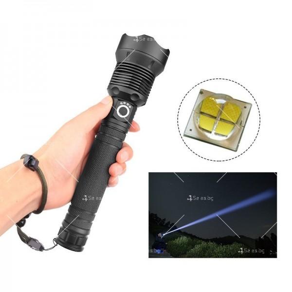 Мощен иновативен, портативен LED фенер с USB зареждане XHP70.2 - FL52 3