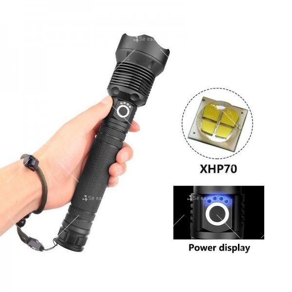 Мощен иновативен, портативен LED фенер с USB зареждане XHP70.2 - FL52 4