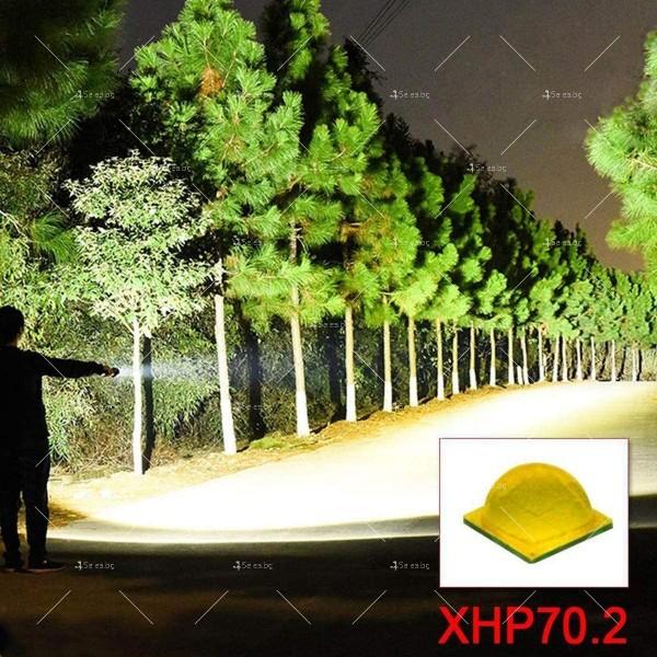 Мощен иновативен, портативен LED фенер с USB зареждане XHP70.2 - FL52 8