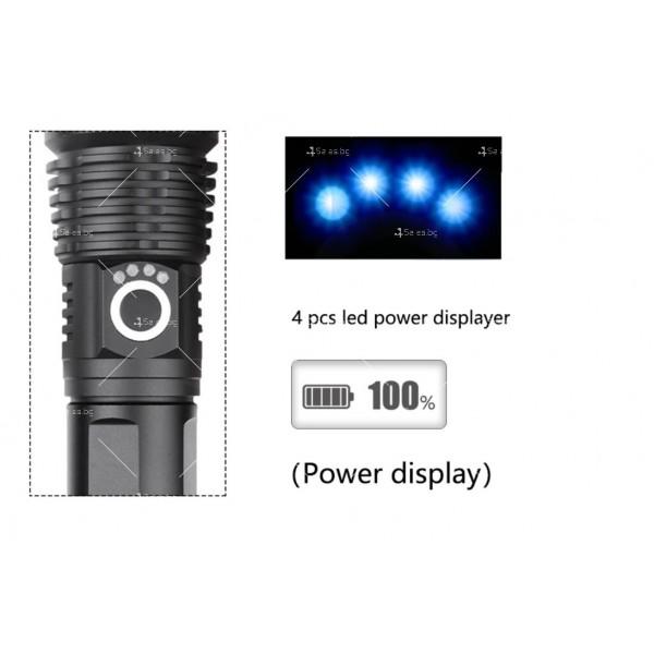 Мощен иновативен, портативен LED фенер с USB зареждане XHP70.2 - FL52 5
