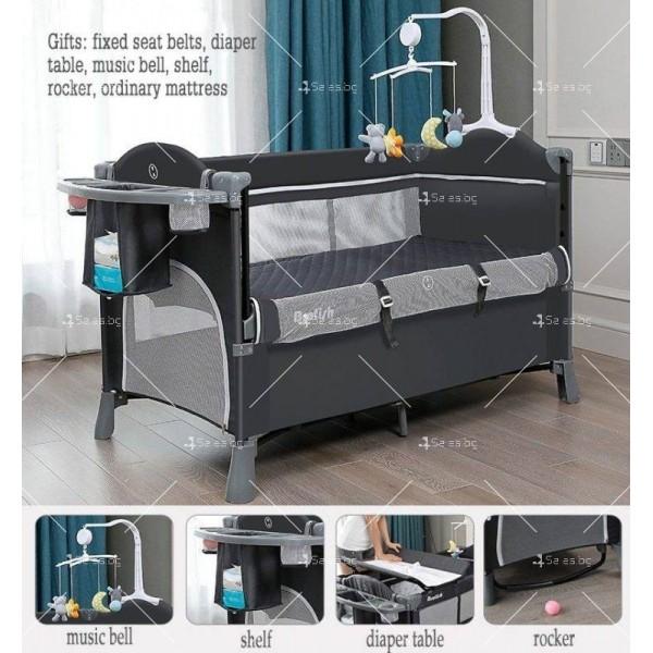 Многофункционално преносимо детско легло-люлка с различни аксесоари Brotish TV516 5