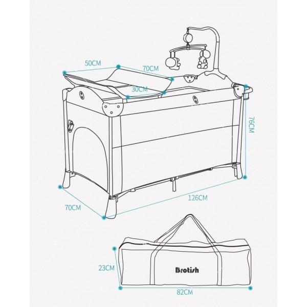 Многофункционално преносимо детско легло-люлка с различни аксесоари Brotish TV516 16