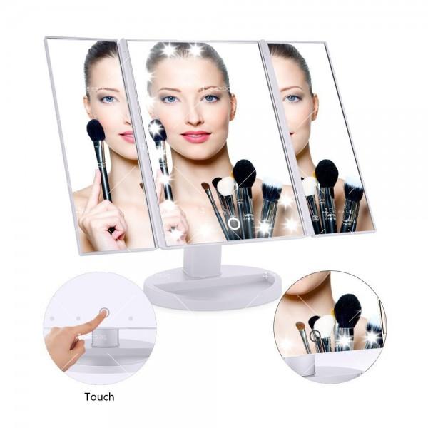 Тристранно сгъваемо огледало в три цвята с вградени Led светлини TV527 13