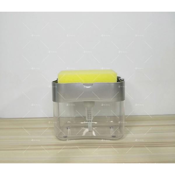 Контейнер - дозатор за течни препарати в комбинация с почистваща гъба TV525 3