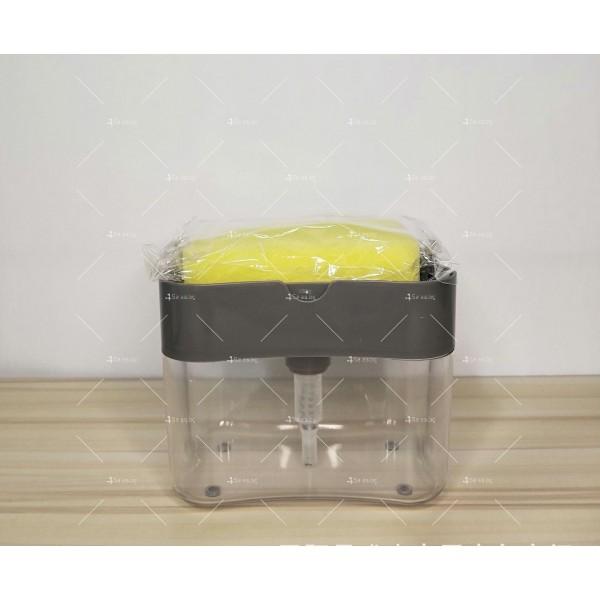 Контейнер - дозатор за течни препарати в комбинация с почистваща гъба TV525 4