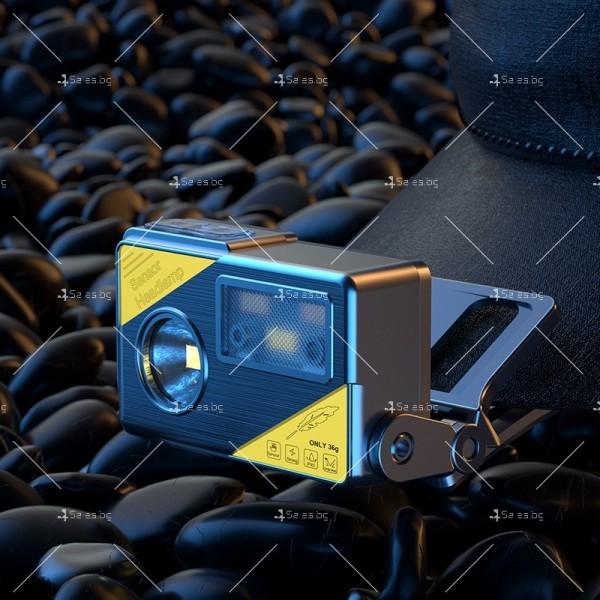 Фенер за глава със силна светлина XPG + LED, вградена батерия с USB - FL68 2