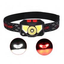 Фенер – челник с вградени батерии, XPG + COB червена и бяла светлина FL57