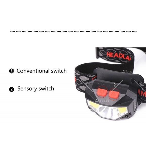 Фенер – челник с вградени батерии, XPG + COB червена и бяла светлина FL57 4