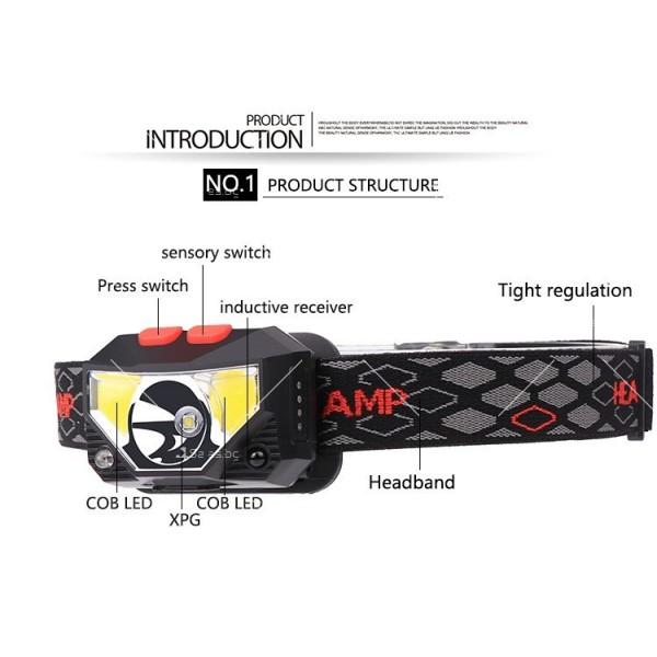 Фенер – челник с вградени батерии, XPG + COB червена и бяла светлина FL57 5