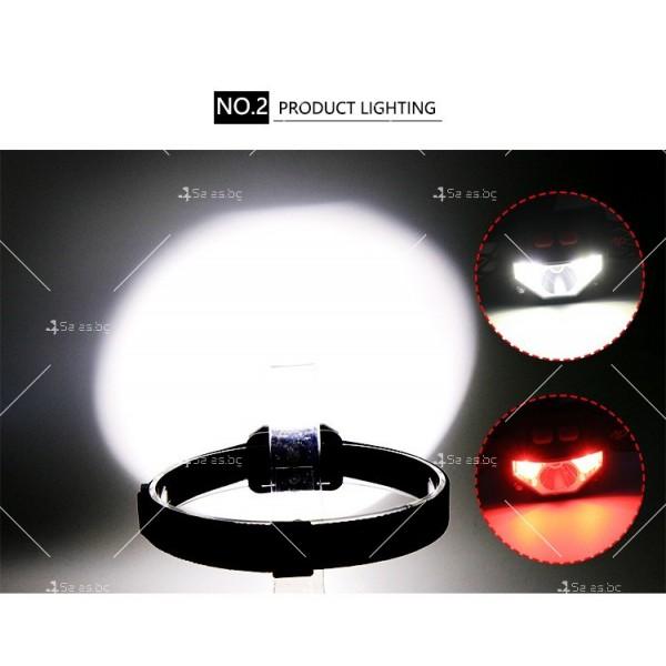 Фенер – челник с вградени батерии, XPG + COB червена и бяла светлина FL57 9