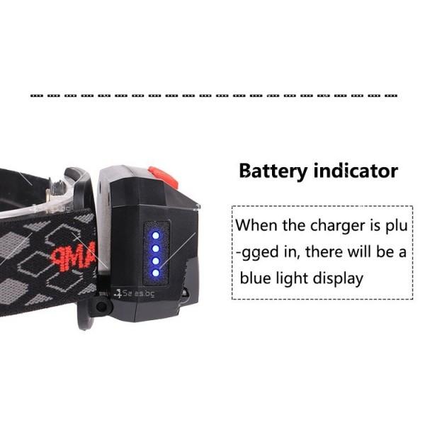 Фенер – челник с вградени батерии, XPG + COB червена и бяла светлина FL57 11