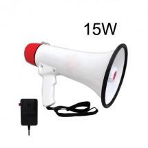Мегафон с мощна вградена сирена и трубка в бял и червен цвят и мощност 12V 15W