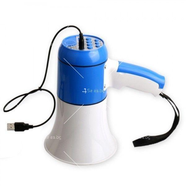 Мегафон в син и бял цвят с вградена сирена, USB захранване и мощност 5V 15W TV653 2