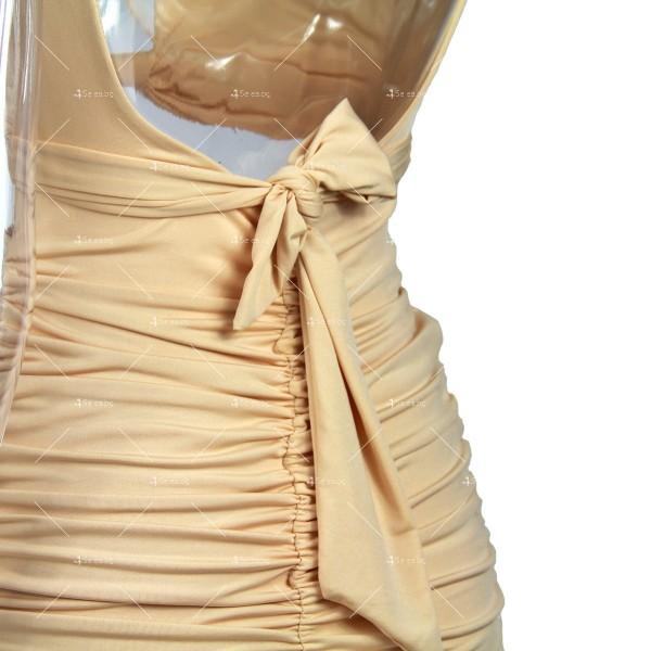 Къса рокля с изрязан корем, V-образно деколте и тънки презрамки FZ51 10