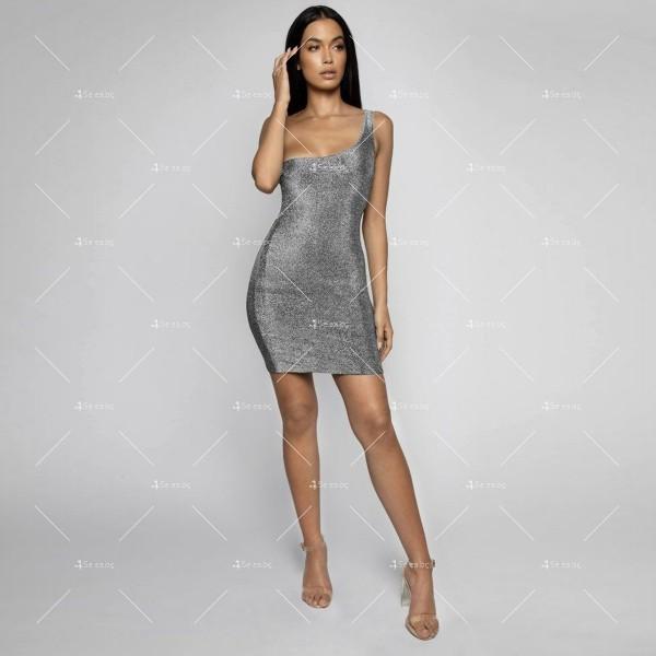 Официална рокля с една широка презрамка в сребрист и златист цвят FZ52 4