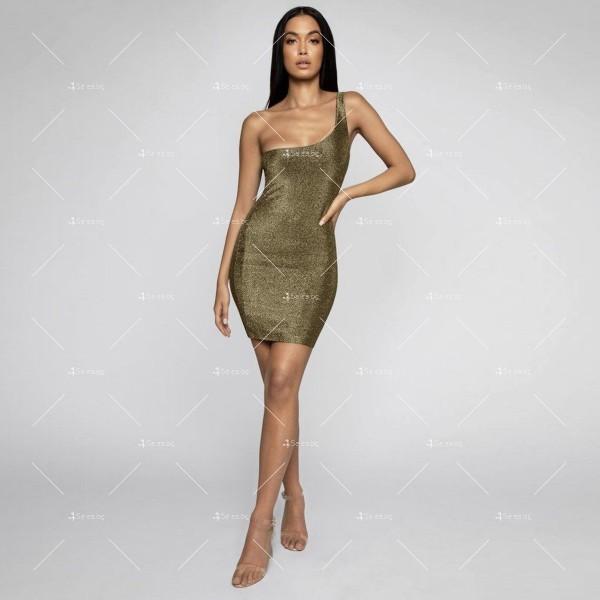 Официална рокля с една широка презрамка в сребрист и златист цвят FZ52 5
