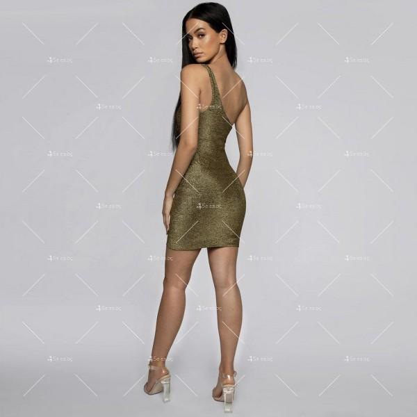 Официална рокля с една широка презрамка в сребрист и златист цвят FZ52 7
