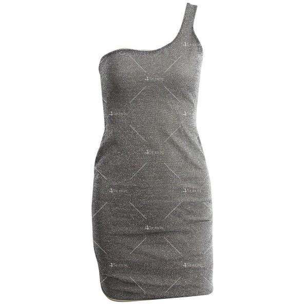 Официална рокля с една широка презрамка в сребрист и златист цвят FZ52 11
