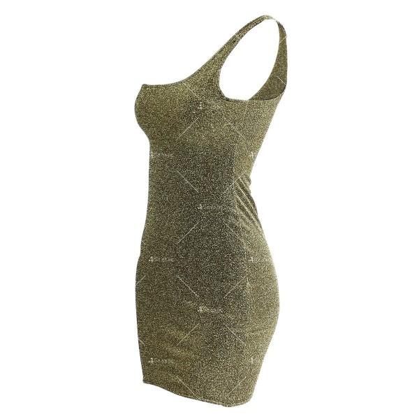 Официална рокля с една широка презрамка в сребрист и златист цвят FZ52 16