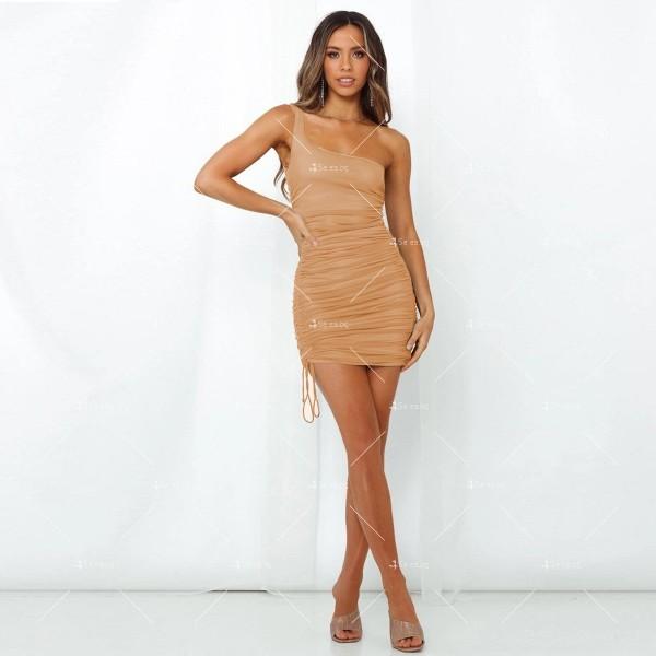 Шикозна къса рокля в четири цвята с една презрамка FZ57 4