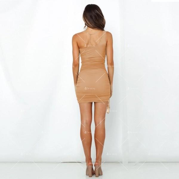 Шикозна къса рокля в четири цвята с една презрамка FZ57 6