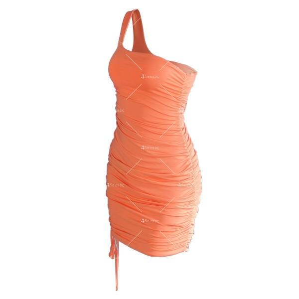 Шикозна къса рокля в четири цвята с една презрамка FZ57 9