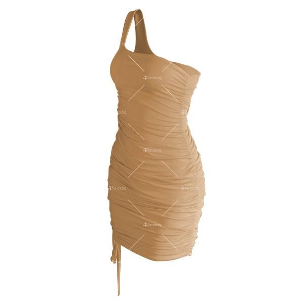 Шикозна къса рокля в четири цвята с една презрамка FZ57 10