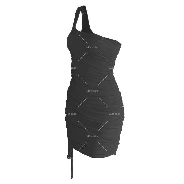 Шикозна къса рокля в четири цвята с една презрамка FZ57 11