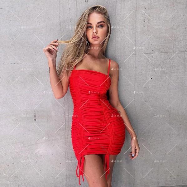 Мини дамска рокля с тънки презрамки в четири цвята FZ60 3