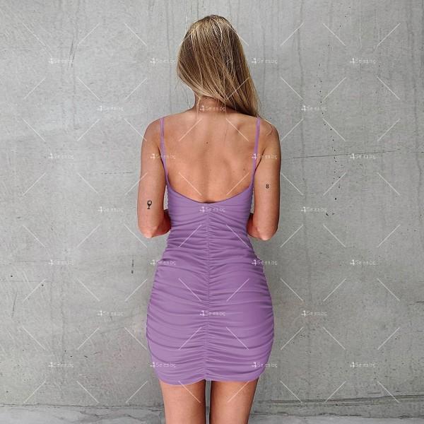 Мини дамска рокля с тънки презрамки в четири цвята FZ60 5