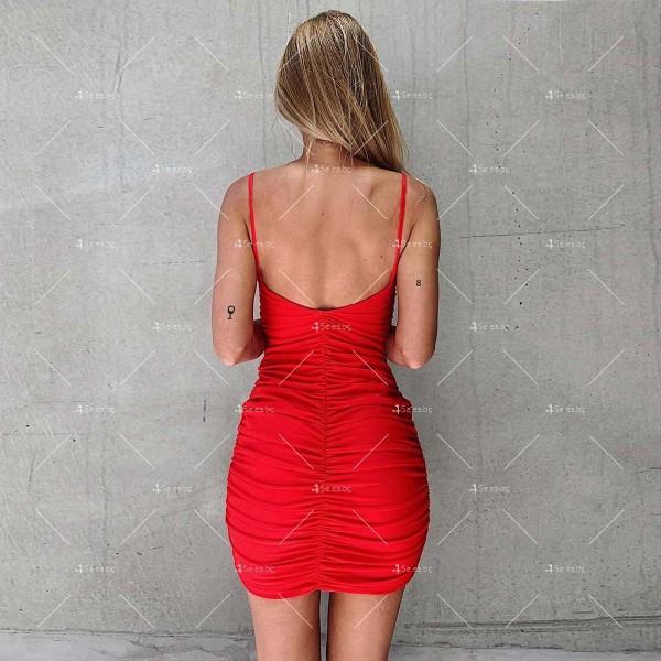 Мини дамска рокля с тънки презрамки в четири цвята FZ60 6