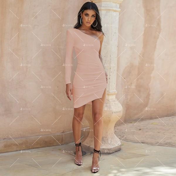 Семпла къса дамска рокля с един ръкав и цепка на полата FZ63 3