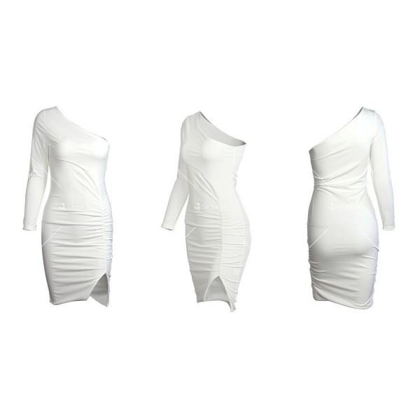 Семпла къса дамска рокля с един ръкав и цепка на полата FZ63 5