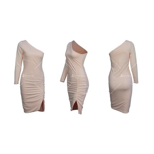 Семпла къса дамска рокля с един ръкав и цепка на полата FZ63 9