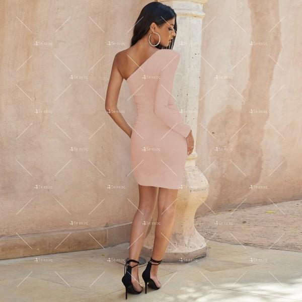 Семпла къса дамска рокля с един ръкав и цепка на полата FZ63 10