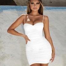 Дамска рокля с къса дължина, тънки презрамки и набрани части FZ66